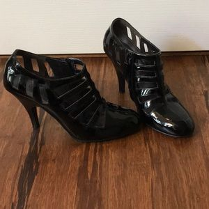 Black patent leather dress booties